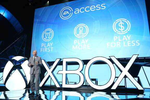 IMAGE DISTRIBUTED FOR MICROSOFT - Peter Moore, Chief Operating Officer, Electronic Arts, expresses his excitement for EA Access only on Xbox One at the Xbox E3 2015 Briefing on Monday, June 15, 2015 in Los Angeles. (Photo by Casey Rodgers/Invision for Microsoft/AP Images)