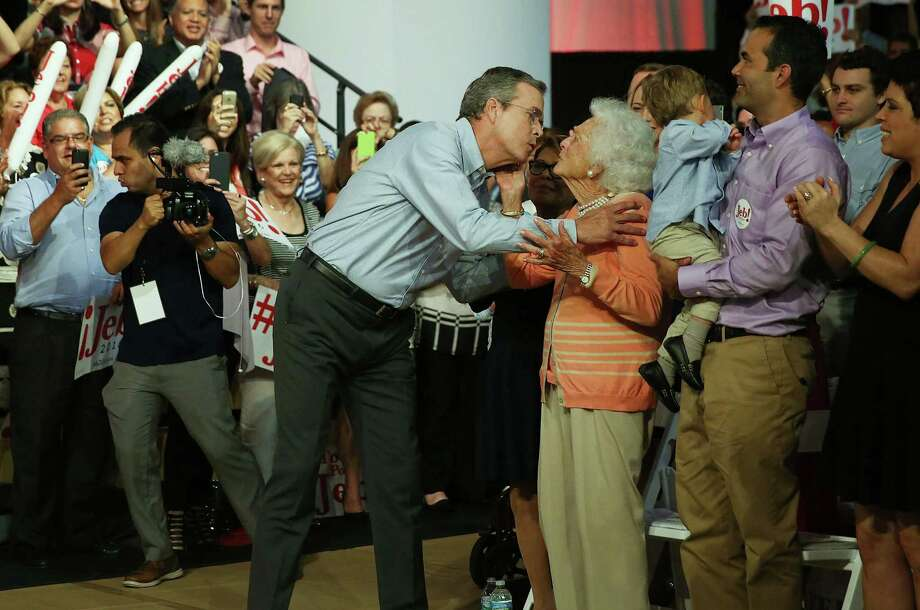 MIAMI, FL - JUNE 15:  Former Florida Governor Jeb Bush kisses his mother Barbara Bush as he is introduced to announce his candidacy for the Republican presidential nomination during an event at Miami-Dade College - Kendall Campus on June 15 , 2015 in Miami, Florida. Bush joins a list of Republican candidates to announce their plans on running against the Democrats for the White House.  (Photo by Joe Raedle/Getty Images) Photo: Joe Raedle, Staff / 2015 Getty Images