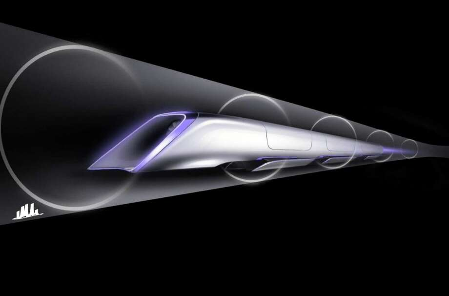 This rendering shows a Hyperloop passenger transport capsule within a tube, the core of a high-speed system that billionaire Elon Musk suggested two years ago that would zoom passenger capsules through elevated tubes at the speed of sound. Photo: HONS / SpaceX
