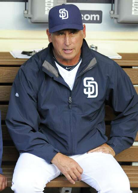SAN DIEGO, CA - MAY 28:  Manager Bud Black #20 of the San Diego Padres sits in the dugout before a baseball game against the Pittsburgh Pirates at Petco Park May 28, 2015 in San Diego, California.  (Photo by Denis Poroy/Getty Images) Photo: Denis Poroy, Stringer / 2015 Getty Images