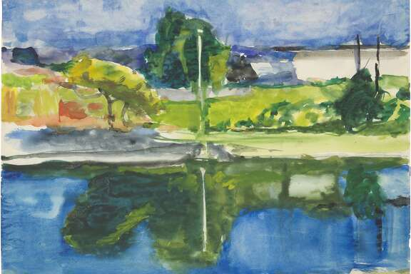 """RD680pub.jpg: Caption: """"Untitled"""" (c. 1988-92) by Richard Diebenkorn, one of the artst's works featured in """"The Intimate Diebenkorn, Works on Paper 1949-1992"""" at the Sonoma Valley Museum of Art through August 23.  Credit: The Richard Diebenkorn Foundation"""