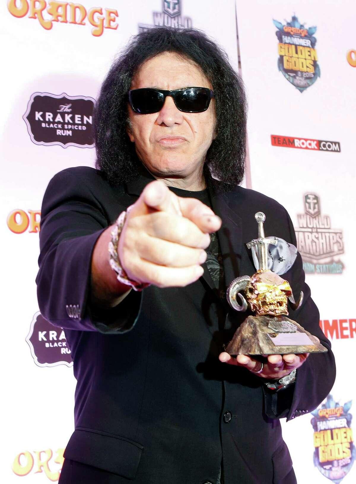 LONDON, ENGLAND - JUNE 15: Gene Simmons of KISS wins Legend Award at the Metal Hammer Golden Gods awards on June 15, 2015 in London, England.