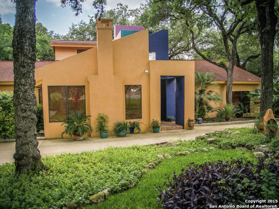 636 Tuxedo Ave., San Antonio, Texas 78209Price: $895,500This Ricardo Legorreta-styled home in Alamo Heights blends Spanish and contemporary features. Outside, the home is splashed with colors of blue, green, red and yellow – similar to the San Antonio Central Library.  Inside, the home's 2,888 square feet of space holds a central galleria, vibrant colors, high ceilings, glassed walls and a library. The 3 bedroom, 2.5 bathroom home sits on six-eights of an acre.MLS: 1117321 Photo: Kuper Sotheby's International Realty, Courtesy, Angelica Idrogo Via MySA.com / Real Estate Brokerage