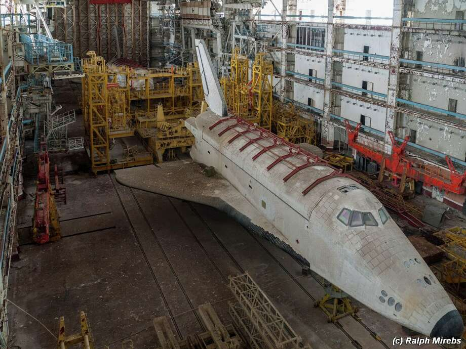 Russian photographer Ralph Mirebs took this photo in 2015 inside the Baikonur Cosmodrome, an abandoned hangar which holds the crumbling remains of Soviet space shuttle prototypes. Photo: Ralph Mirebs