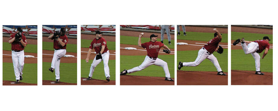 Roger Clemens' throwing motion, frame by frame. (M&R Glasgow/flickr, CC BY)