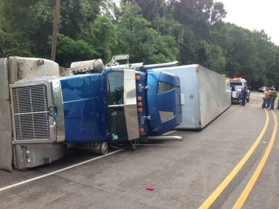 An overturned 18-wheeler in Newton County on June 16, 2015.