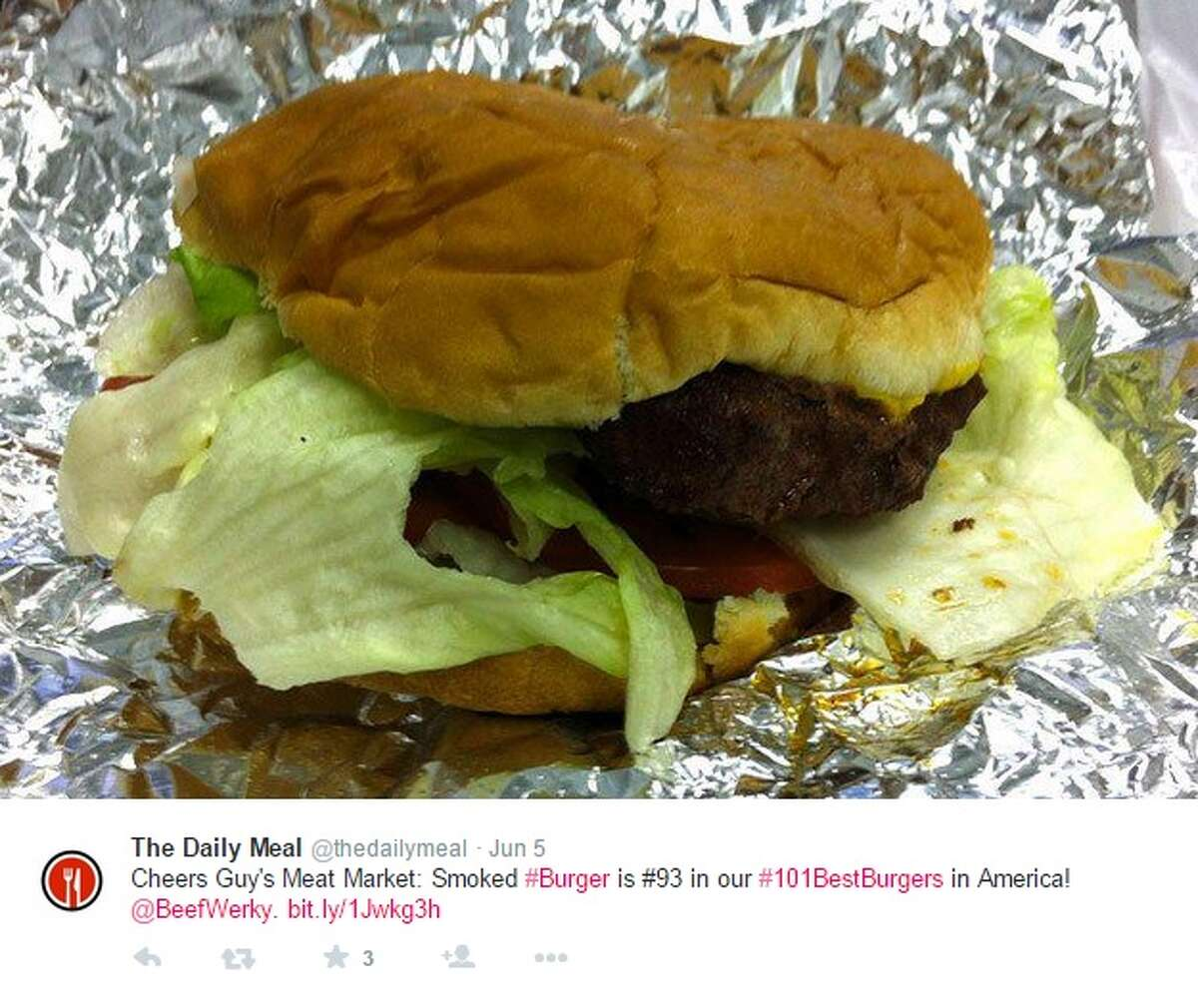 93. Smoked Burger with Barbecue Sauce (No. 11 in Texas) Restaurant: Guy's Meat Market City: Houston Website: guysseasoning.com