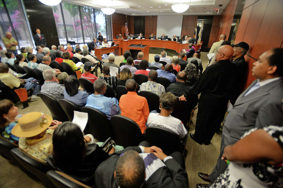 Guests and local leaders fill Beaumont's City Council meeting room during Monday's Planning and Zoning meeting. The committee addressed council member Audwin Samuel's request to move his law office to an old town home that has several area residents concerned.  Photo taken Monday, June 15, 2015  Guiseppe Barranco/The Enterprise Photo: Guiseppe Barranco, Photo Editor