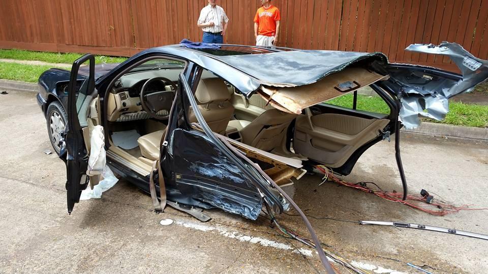Houston car crash splits mercedes in half houston chronicle for Mercedes benz of mckinney staff