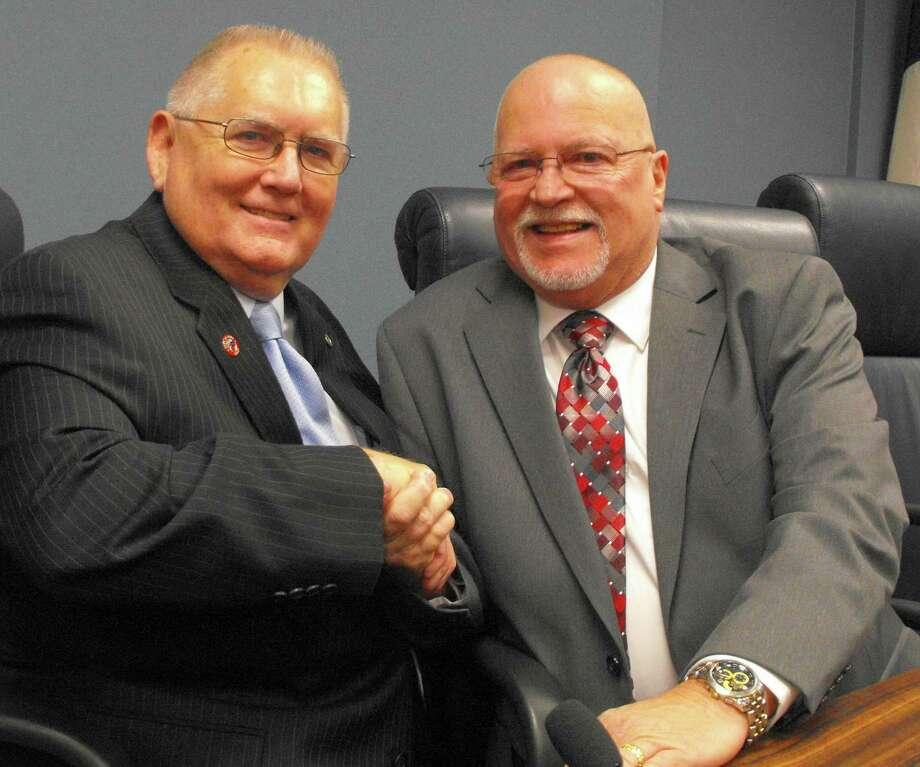 Katy Mayor Fabol Hughes welcomes Gary Jones to the Katy City Council.Katy Mayor Fabol Hughes welcomes Gary Jones to the Katy City Council.