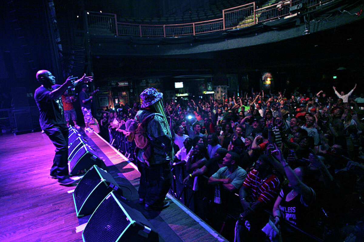HOUSTON, TX - JUNE 11: (L-R) Willie D, Scarface and Bushwick Bill of The Geto Boys perform in concert at the House of Blues on June 11, 2015 in Houston, Texas. (Photo by Marco Torres/HOU/VMG via Getty Images)