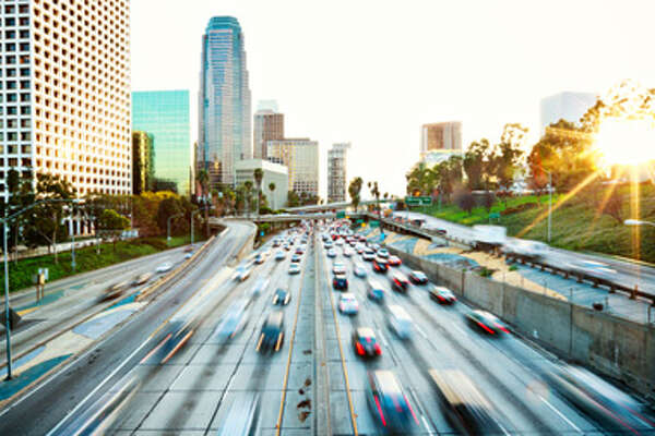 #4. LA. This shot of the Los Angeles freeway tells a lot about one of LA's main source of filthiness. Photo: iStock/Travel and Leisure.