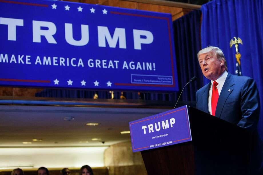 Business mogul Donald Trump gives a speach as he announces his candidacy for the U.S. presidency at Trump Plaza on June 16, 2015 in New York City. Trump is the 12th Republican who has announced running for the White House. Photo: Christopher Gregory /Getty Images / 2015 Getty Images