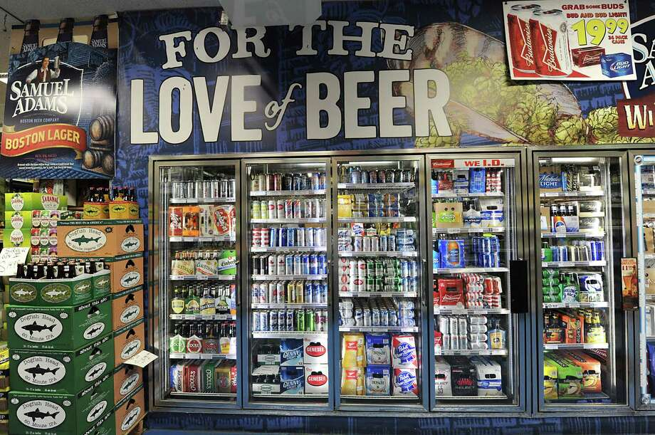 A file photo of a beer cooler in Albany, N.Y. A Wisconsin man locked inside a convenience store 