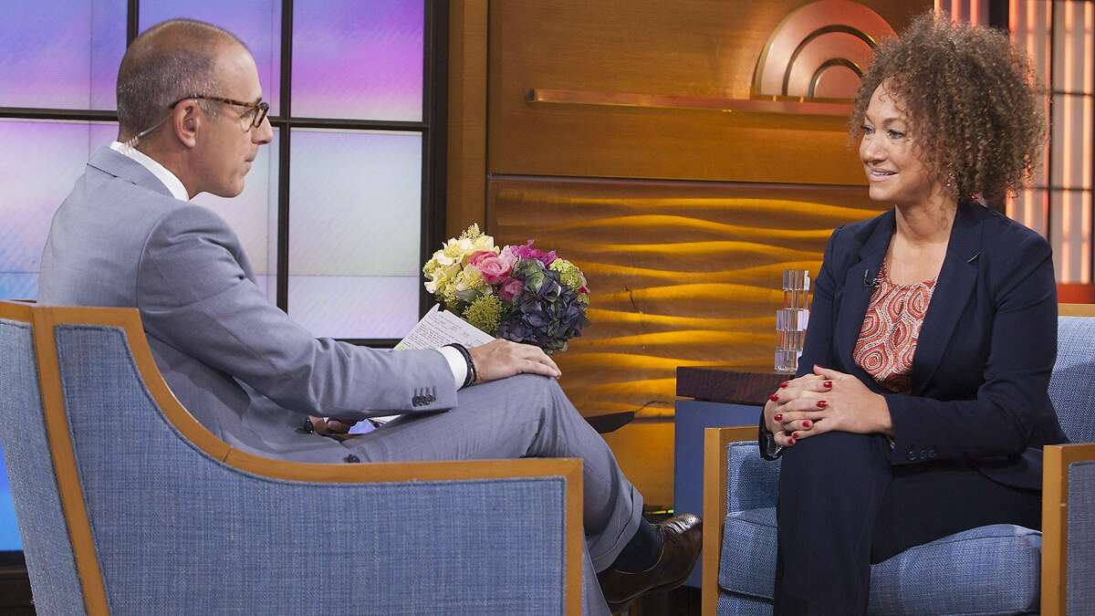 """In this image released by NBC News, former NAACP leader Rachel Dolezal appears on the """"Today"""" show during an interview with co-host Matt Lauer, Tuesday, June 16, 2015, in New York. Dolezal, who resigned as head of a NAACP chapter after her parents said she is white, said Tuesday that she started identifying as black around age 5, when she drew self-portraits with a brown crayon, and """"takes exception"""" to the contention that she tried to deceive people. Asked by Matt Lauer if she is an """"an African-American woman,"""" Dolezal said: """"I identify as black."""""""