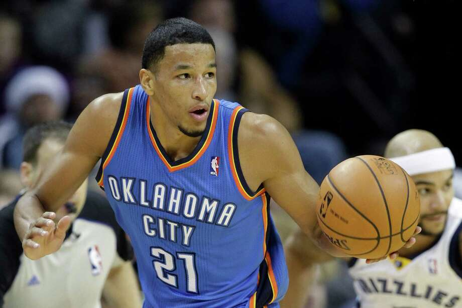Oklahoma City Thunder guard Andre Roberson, a former Wagner standout, plays in the first half against the Memphis Grizzlies in Memphis, Tenn., on Dec. 11, 2013. Photo: Danny Johnston /Associated Press / AP