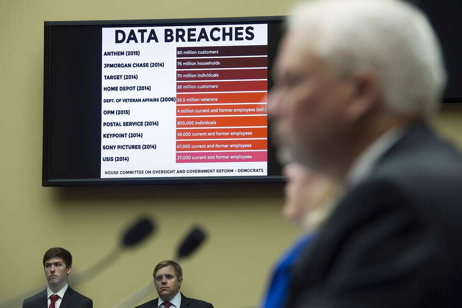 A chart of data breaches is shown on Capitol Hill as witnesses testify before the House Oversight and Government Reform committee's hearing on the Office of Personnel Management data breach. Photo: Cliff Owen, Associated Press