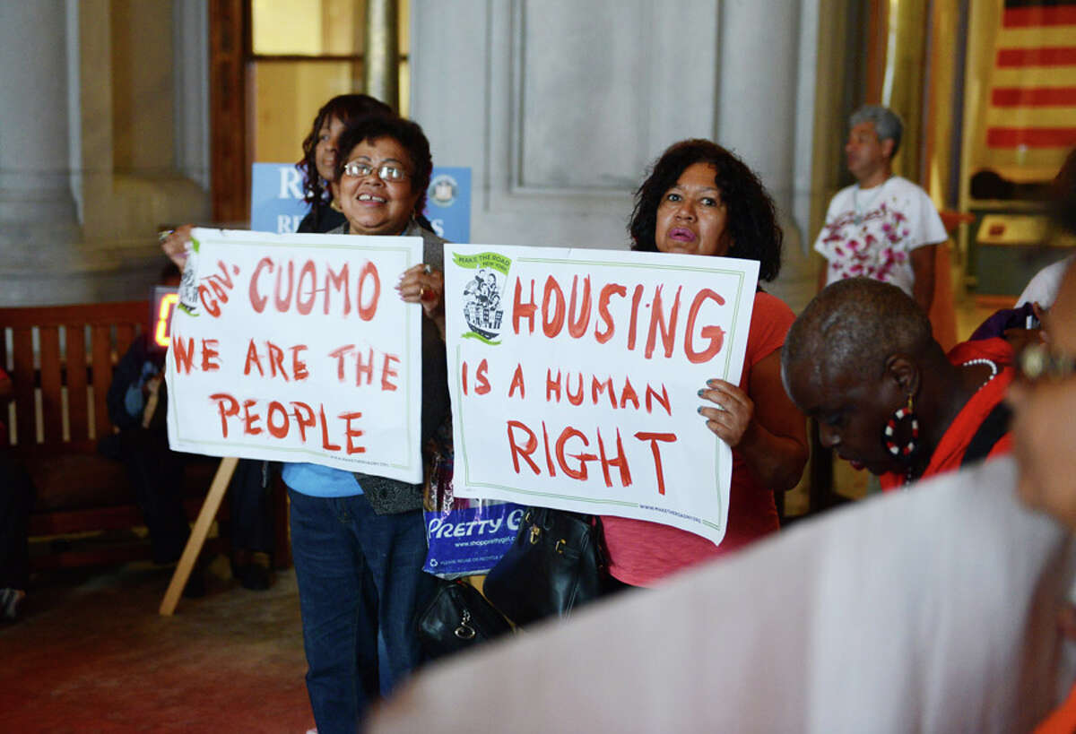 Rent regulation law advocates hold a rally on the second floor of the Capitol Monday afternoon, June 15, in Albany, N.Y. Current rent laws were due to expire Monday at midnight. (Will Waldron/Times Union)