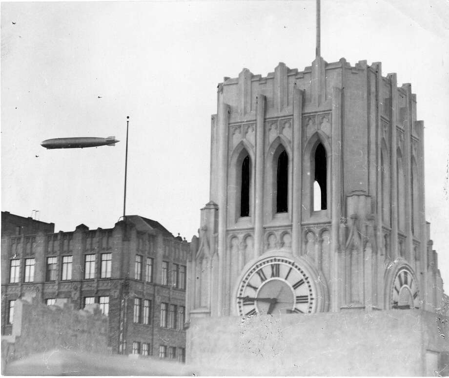 The Graf Zeppelin flies near the Chronicle building. This photo ran on the front page 08/26/1929