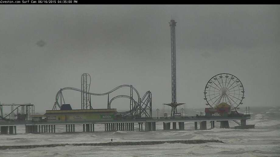 There wasn't much pleasure to be had on Galveston's Pleasure Pier as Tropical Storm Bill made landfall.(Source: Galveston.com) Photo: Http://www.galveston.com/webcams/