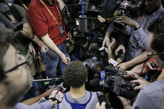Golden State Warriors' Stephen Curry speaks to the media before Game 6 of The NBA Finals between the Golden State Warriors and Cleveland Cavaliers at The Quicken Loans Arena on Tuesday, June 16, 2015 in Cleveland, Ohio.