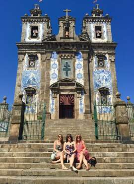 Kimberly Terrill, Angela Grossman and Lisa Gruzas at the Church of Saint Ildefonso in Porto, Portugal