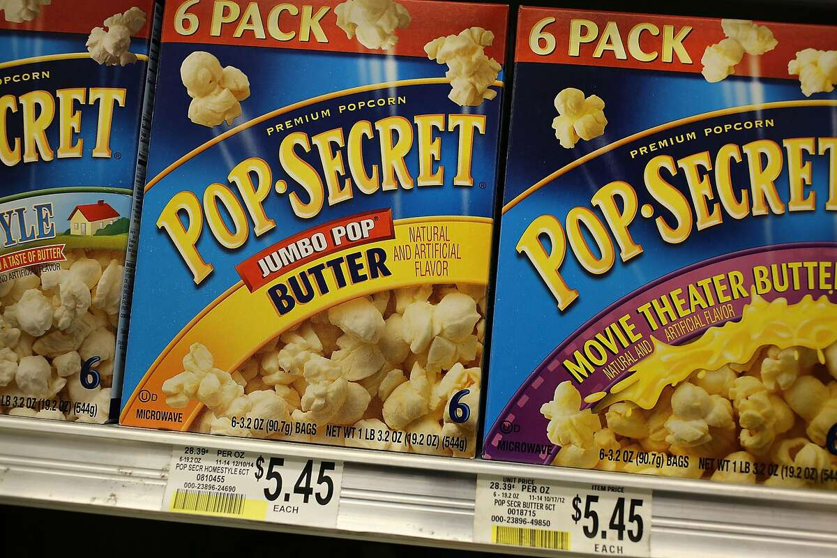 """MIAMI BEACH, FL - JUNE 16: Pop-Secret Jumbo Pop butter which has 4.5 grams of trans fat is seen on a store shelf on June 16, 2015 in Miami Beach, Florida. The FDA today announced that trans fat is not """"generally recognized as safe"""" for use in human food and have given food manufacturers three years to remove the partially hydrogenated oils from their products. (Photo by Joe Raedle/Getty Images)"""