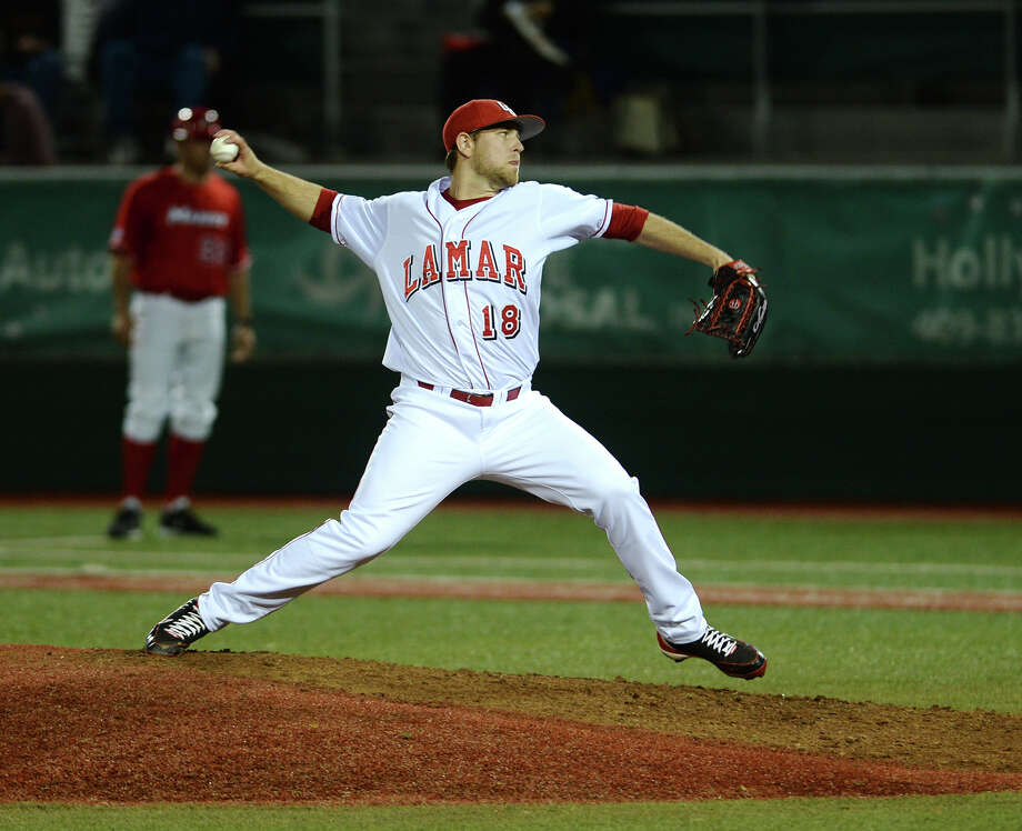 Lamar's junior pitcher Collin Chapman, who was drafted in the 33rd round of the MLB Amateur Draft by Tampa Bay, has elected to forego his senior season and sign with the Rays.  Lamar's Collin Chapman, No. 18, throws against a Marist hitter during Friday's game. The Lamar University baseball team played Marist in their season opener on Friday afternoon.  Photo taken Friday, 2/14/14  Jake Daniels/@JakeD_in_SETX     Manditory Credit, No Sales, Mags Out, TV OUT, Web: AP Members Only Photo: Jake Daniels / ©2013 The Beaumont Enterprise/Jake Daniels