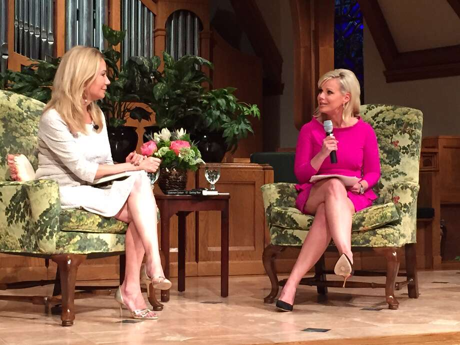 "Kathie Lee Gifford, left, interviews Gretchen Carlson about her new memoir ""Getting Real"" at the First Presbyterian Church of Greenwich Monday. Photo: Sylvia Foster-Frau / Hearst Connecticut Media"