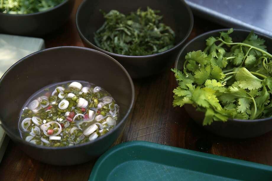 Some of the ingredients to make Louis Maldonado's grilled rib eye and potato potatoes. Photo: Liz Hafalia, The Chronicle