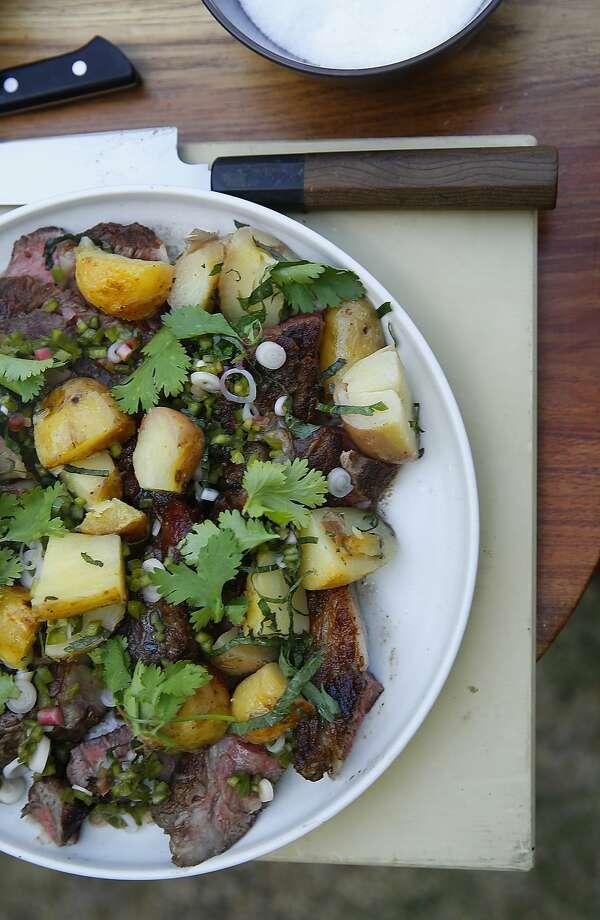 Chef Louis Maldonado's grilled rib eye and grilled potatoes in Healdsburg. Photo: Liz Hafalia, The Chronicle