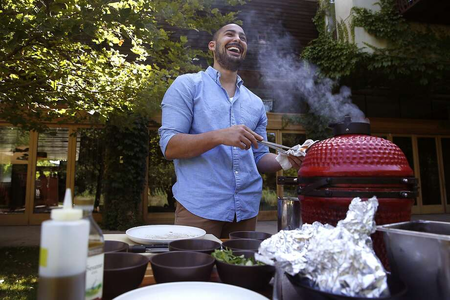 "Chef Louis Maldonado of Spoonbar makes grilled rib-eye and potato ""hobo packs""  in Healdsburg, California, on Monday, June 15, 2015. Photo: Liz Hafalia, The Chronicle"