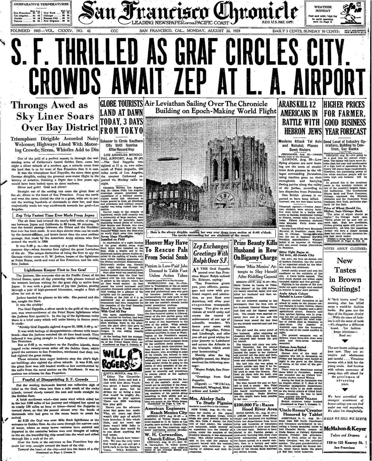 Historic Front page Graf Zeppelin circles San Francisco Chronicle building in the foreground. August 26, 1929 paper Historic Chronicle front page