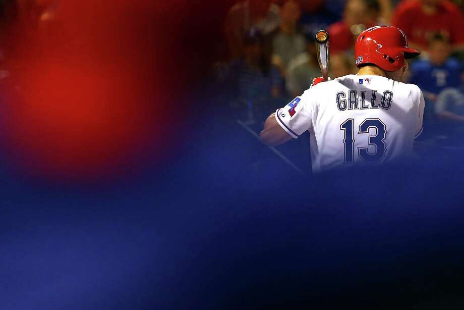 Joey Gallo of the Texas Rangers bats during a game against the Los Angeles Dodgers at Globe Life Park in Arlington on June 15, 2015. Photo: Sarah Crabill /Getty Images / 2015 Getty Images