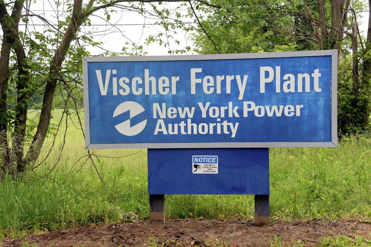 Sign at the entrance to New York Power Authority's Vischer Ferry hydro power plant Tuesday June 16, 2015 in Rexford, NY. (John Carl D'Annibale / Times Union)