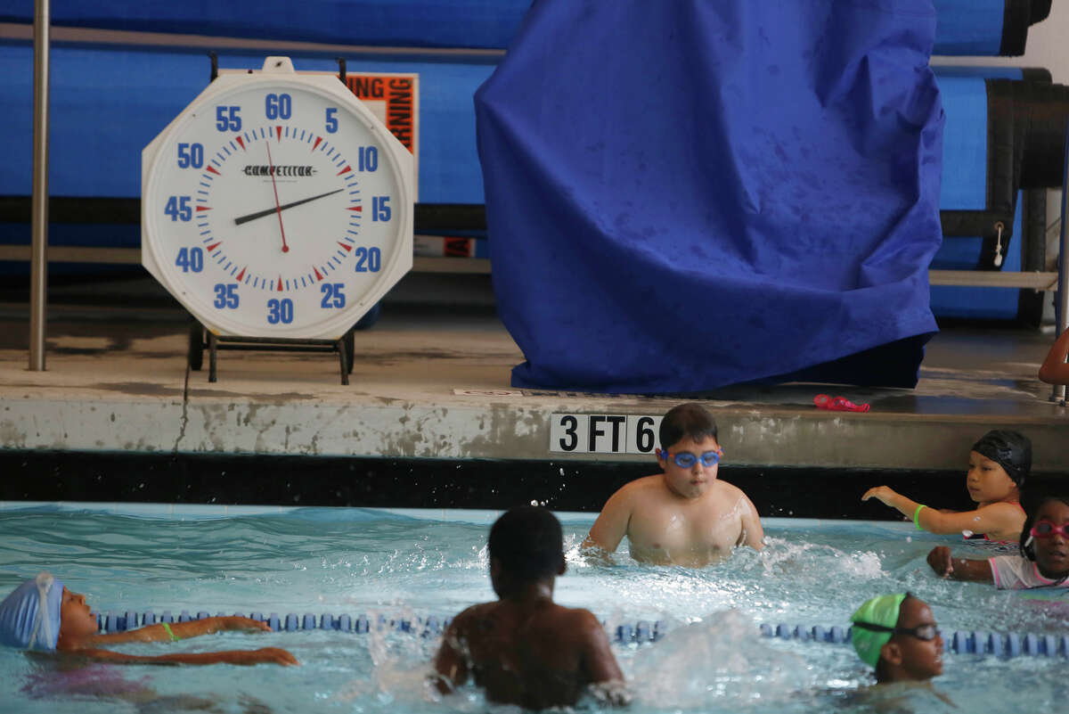 A 25-yard indoor pool provides a huge expanse for children from nearby low-income neighborhoods to frolic, exercise and learn to swim in the new recreational addition to the area.