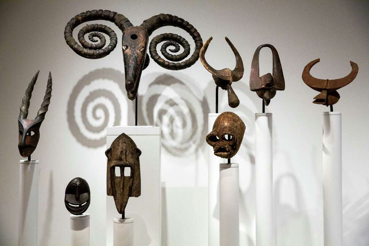 A selection of contemporary African art exhibitions on display during a media preview of SAM's newly-installed
