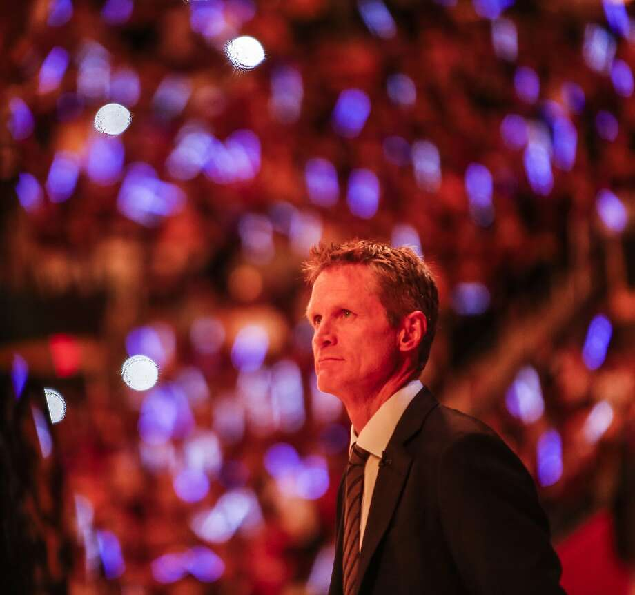 Golden State Warriors' Coach Steve Kerr watches pre-game ceremonies before Game 6 of The NBA Finals between the Golden State Warriors and Cleveland Cavaliers at The Quicken Loans Arena on Tuesday, June 16, 2015 in Cleveland, Ohio. Photo: Scott Strazzante, The Chronicle