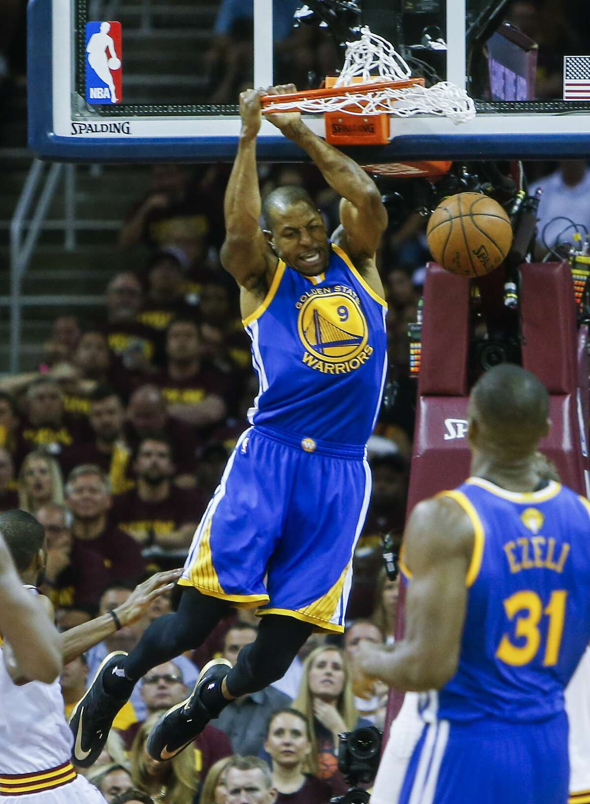 Golden State Warriors' Andre Iguodala dunks the ball in the third period during Game 6 of The NBA Finals between the Golden State Warriors and Cleveland Cavaliers at The Quicken Loans Arena on Tuesday, June 16, 2015 in Cleveland, Ohio.