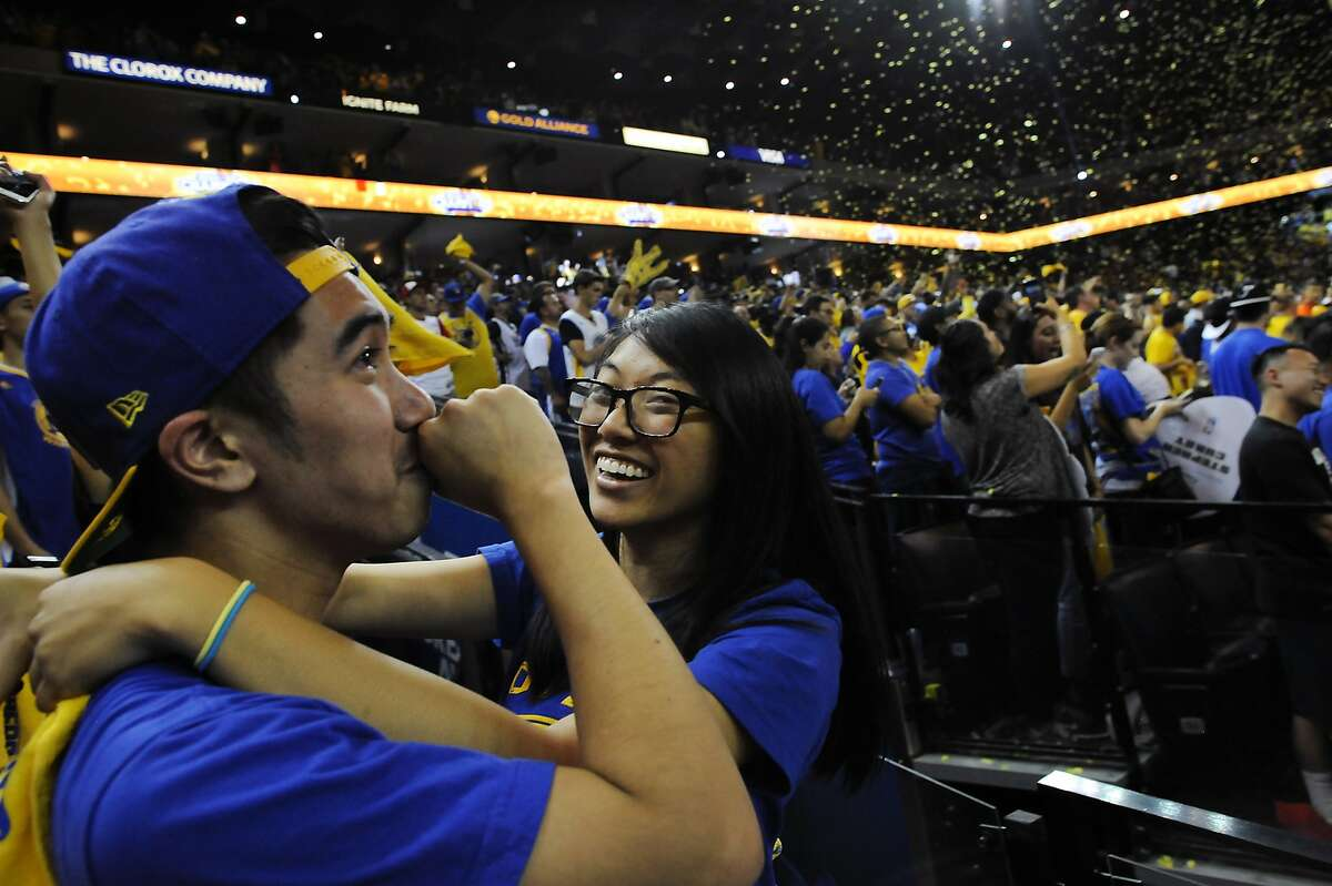 during an NBA Finals Game 6 Warriors Watch Party at Oracle Arena in Oakland, CA Tuesday, June 16, 2015.
