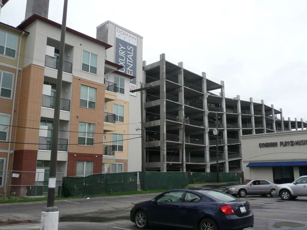 A view of The Domain West parking garage from Memorial Drive