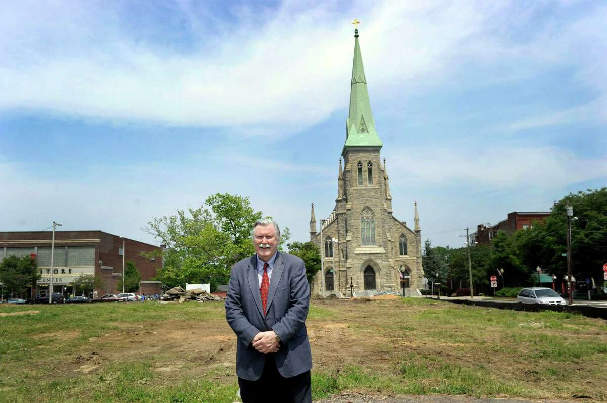 James Maloney, CEO of the nonprofit Connecticut Institute for Communites stands on the site for their new facility. Construction is set to begin on Connecticut Institute for Communities new medical center on Main Stree in Danbury on the site of the old Danbury Police Department on Main Street. Photo Friday, June 12, 2015.