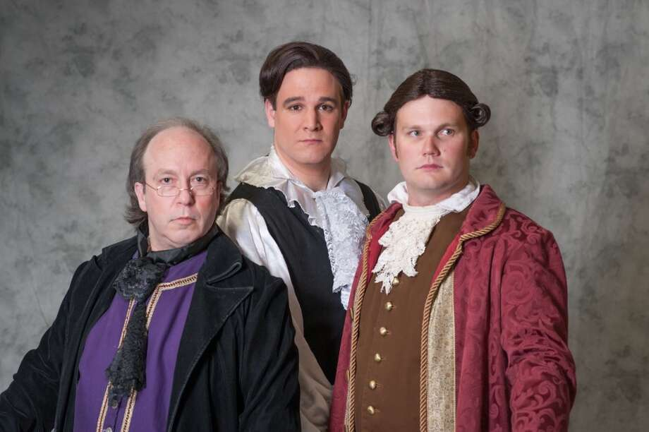 """Sean Thompson as Benjamin Franklin, left, Justin Finch as Thomas Jefferson and Taylor Fisher as John Adams are part of the musical """"1776"""" to be presented at Houston Family Arts Center.  Photo Credit: Photo:  Audree Garcia"""
