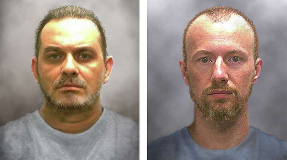 The New York State Police released this images showing what Richard Matt and David Sweat may have looked like 10 days after their escape. Photo: New York State Police