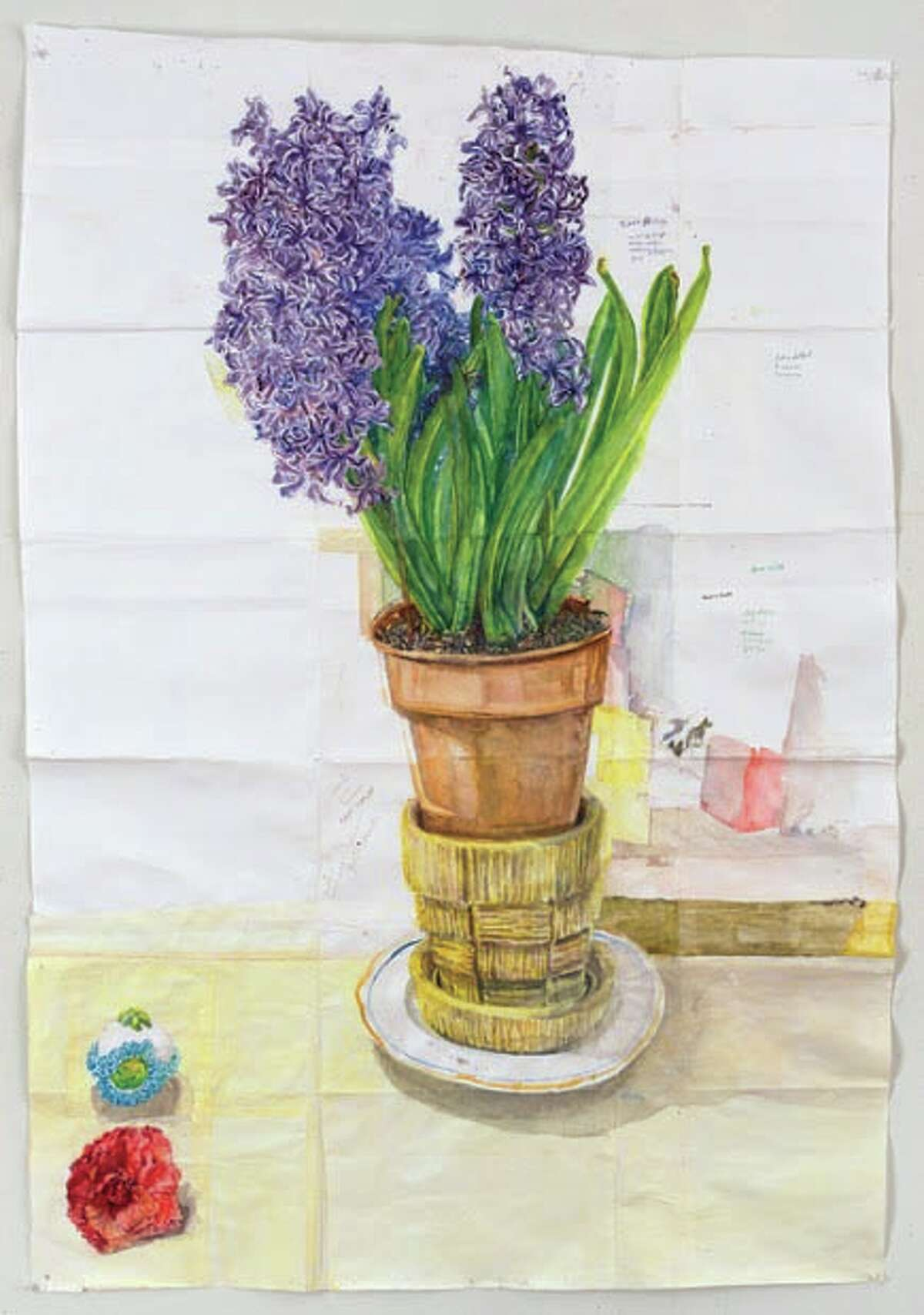 Hyacinth, Camellia and Sugar Egg, 2014, watercolor on paper (Courtesy John Davis Gallery)