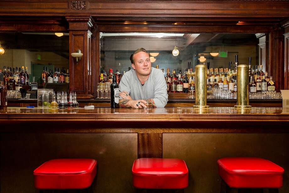 Morgan Schick of the Bon Vivants, behind the bar at Cafe du Nord. Photo: Jason Henry, Special To The Chronicle