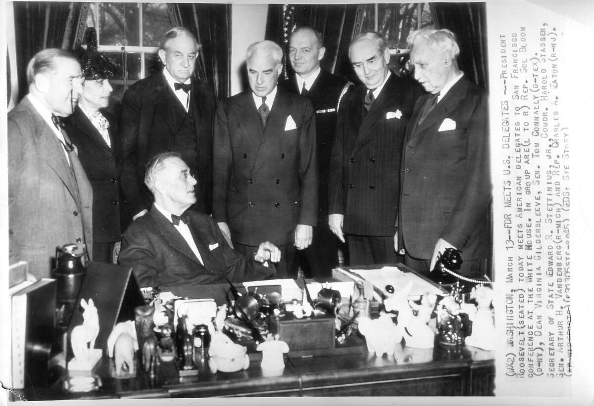 President Franklin D. Roosevelt meets with U.S. delegates to the U.N. conference to be held in San Francisco Photo dated 03/13/1945 delegates (l to r) Rep. Sol Bloom, Dean Virginia Gildersleeve, Sen. Tom Connally, Edward R. Stettinius, Comdr. Harold Stassen, Sen Arthur H Vandenberg, and Charles A. Eaton United Nations conference AP photo