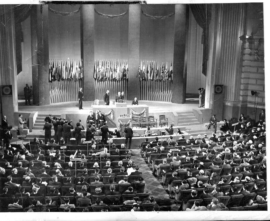 THis is the scene on June 26, 1945, when the conference unanimously adopted the charter. AP photo ran 06/19/1955, This World Cover  United Nations conference