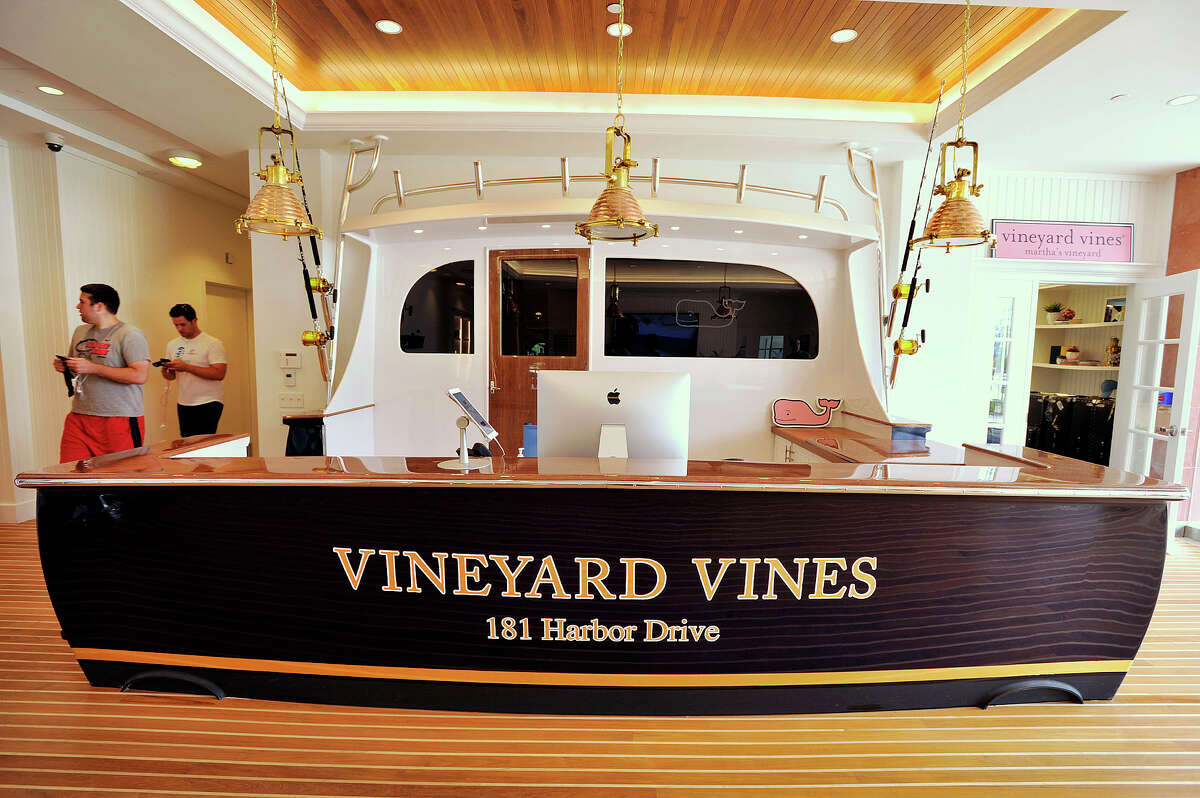 The front desk can be seen at Vineyard Vines' new corporate headquarters on Harbor Road in Stamford, Conn., on Wednesday, June 17, 2015.