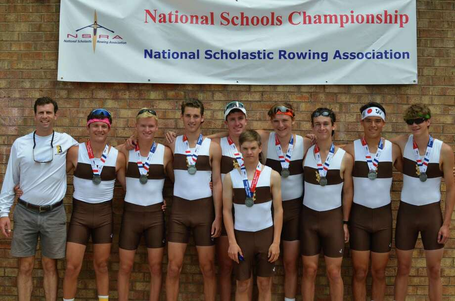 The Brunswick second varsity eight boat crew poses with coach John Martin at the National Schools' Championship Regatta in Va. June 2015 Photo: Contributed Photo / Contributed Photo / Greenwich Time Contributed